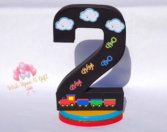 Train Themed Number 2 Paper Mâché- Freestanding Number, Standalone Number, Train Centerpiece.