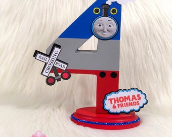 Gordon Themed Number 4 Paper Mâché- Freestanding Number, Standalone Number, Centerpiece Thomas the Train