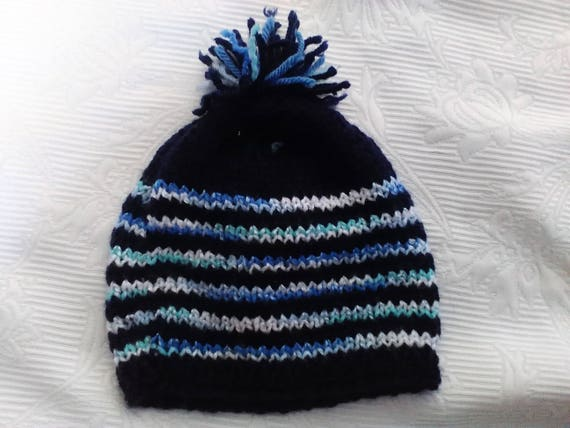 d7a3d30a316 Navy stripe hat sparkle yarn stripe shades of blue and
