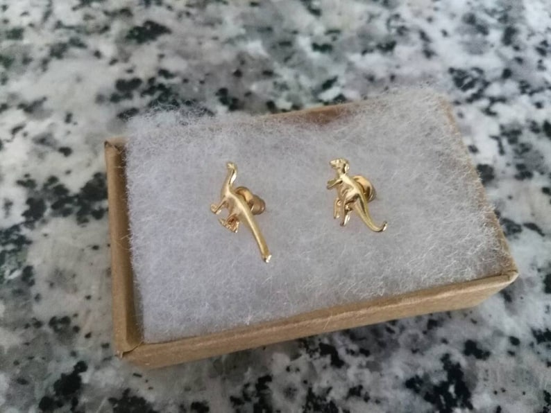 Small dinosaur earrings pair stud cartilage jewelry nerd hipster accessory fashion jewelry minimalist silver gold tone science animal tiny