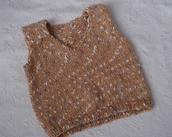12-15m tweed beige vest, classic menswear baby clothes, hand knit one of a kind, baby vest, neutral