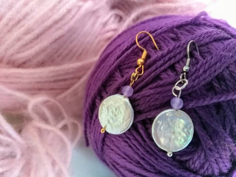 Lilac jade Genuine coin pearl freshwater pearl drop earrings cultured pearl gold bridal wedding bridesmaid baroque pearl hypoallergic option
