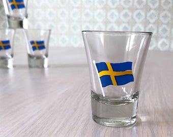 Pack of 6 shot glasses // swedish nubbe vodka glass // Swedish flag // Vintage // midsummer Sweden