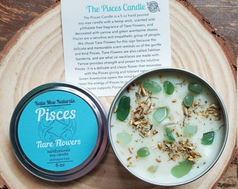 Pisces Zodiac Gift Pisces Crystal Candle Tiare Flowers Scented Soy Wax Candle Eco Friendly Gifts