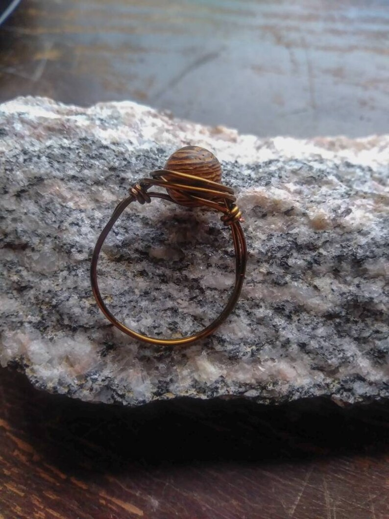 Wire Wrapped Ring  Wooden Wire Ring  Hippie Jewelry  Wood Jewelry