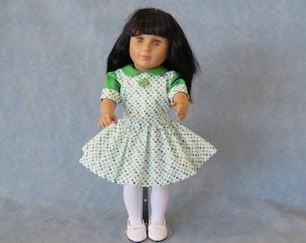 """Shamrock St. Patrick's Day 18"""" Doll Dress"""