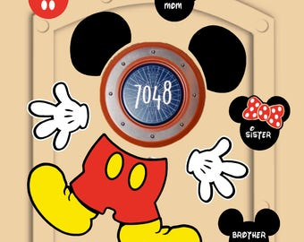 Disney Cruise Door Magnets (not paper) Mickey Mouse pieces with personal little Mickeys
