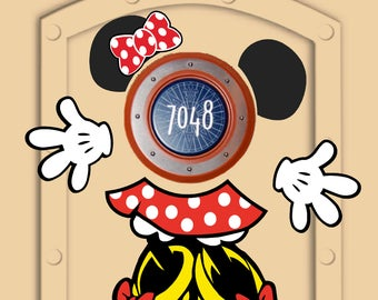 Disney Cruise Door Magnets (not paper) Minnie Mouse pieces with personal little Mickeys and Minnies