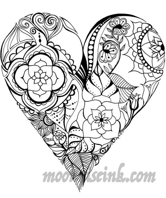 Fine art print mandala coeur etsy - Mandala de coeur ...