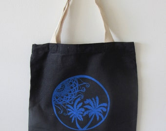 Cotton Twill Tote Bag - Blue Mandala Sun and Palms on Black Background - Hand Printed