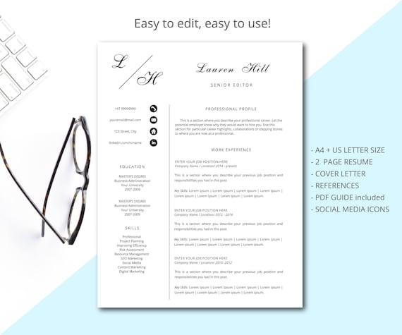 Moden Lebenslauf professionellen Lebenslauf Vorlage für Word, 1, 2 Seite  Lebenslauf + Anschreiben + Referenzen + Symbole, Instant Download CV Vorlage