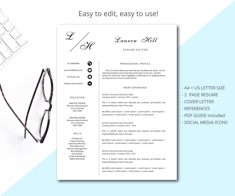 Moden currículum currículum profesional plantilla para Word | Etsy