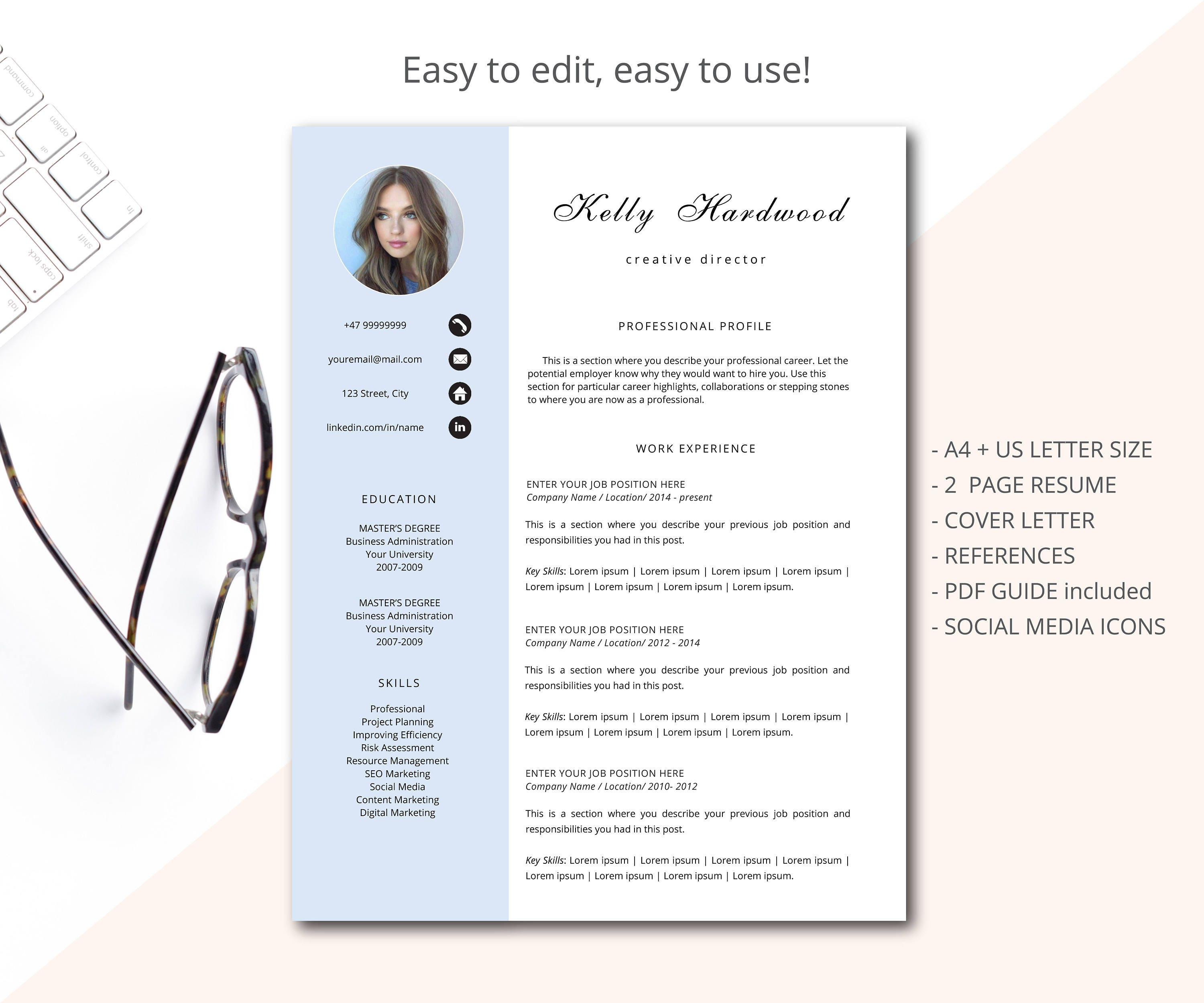 Resume Template Cv Template Professional Resume Template Etsy