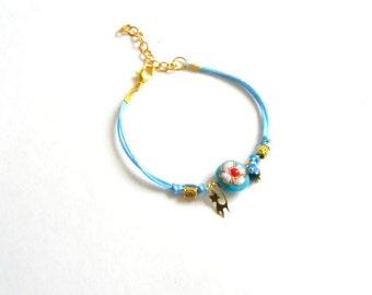 Turquoise Flower Bracelet, Turquoise Bracelet, Women Bracelet, Gift For Her, Charm Bracelet, Boho Turquoise Bracelet, Valentine's Day