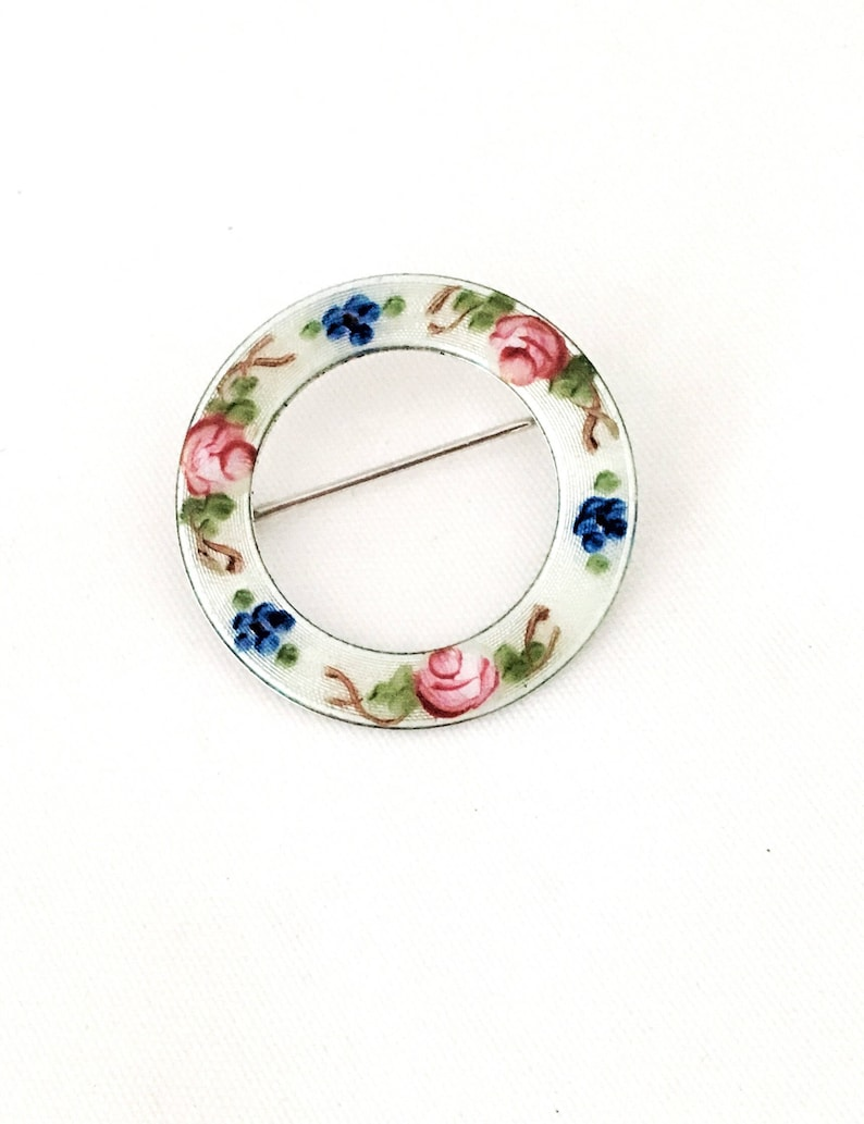 Vintage Lamode Brooch Sterling silver with enamel pink roses and blue forget me nots Wear on blazer lapel Gift for mother.