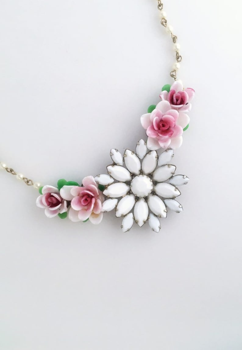 Milk glass flower and pink and white sculpted glass roses Gift for women. Beautiful bridal jewelry Vintage assemblage necklace