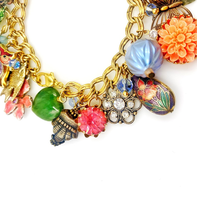 Gift for wife. and much more Loaded charm bracelet Colorful with hearts vintage assemblage flowers