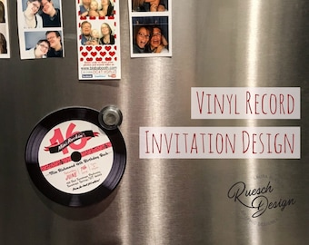 50's Style Birthday Invitation Rock and Roll Music Vinyl Record for 50's, Rockabilly, Pinup, Classic Car Shows, Music, Band, Classic, Events