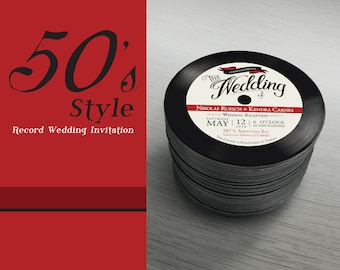 50's Style Retro Wedding Invitation Rock and Roll Music Vintage Classical Vinyl Record Rockabilly Car Show Pinup Girl