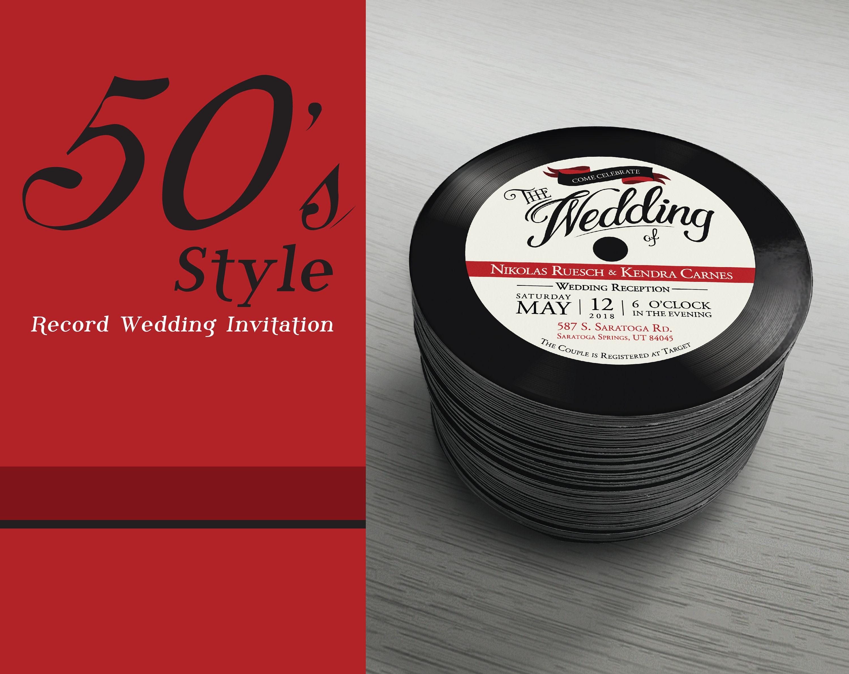 50s Style Retro Wedding Invitation Rock and Roll Music