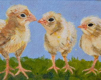 Animal, Chick, 3 CHICKS, Acrylic, Children's room, Original Painting, Ready to Hang, Matted, Framed, 12 1/2 X 10 1/2