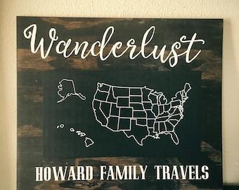 Wanderlust Chalkboard Map of USA
