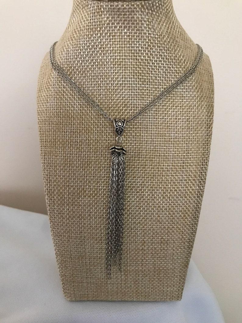 hippie chic double chain necklace drop neckace Silver tassel necklace bohemian boho tassel necklace Edwardian