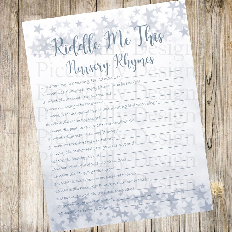 Twinkle Twinkle Little Star Baby Shower Games - Riddle Me This - Nursery  Rhymes Riddles - Answer Key Included