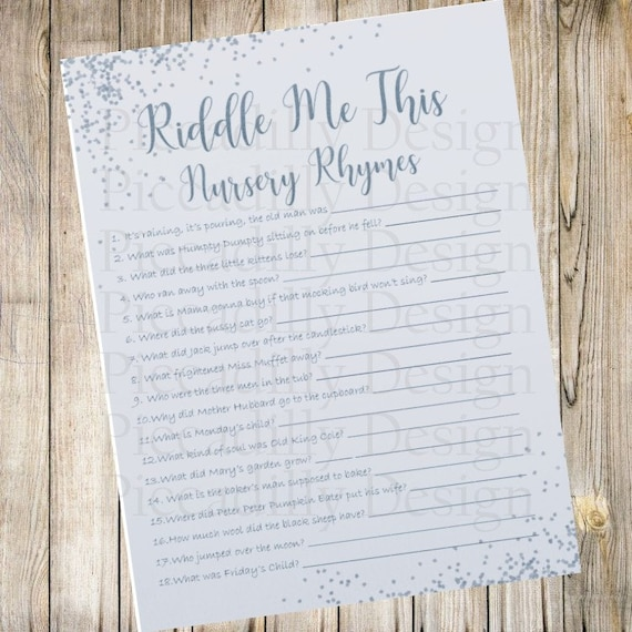 Simple Blue - Baby Shower Games - Riddle Me This - Nursery Rhyme Edition -  Answer Key Included