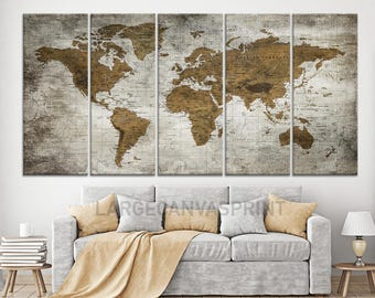 Antique World Map Large Wall Art, Push Pin Travel Map of World, Vintage Map, Push Pin Map, Push Pin World Map, World Map Canvas Wall Art