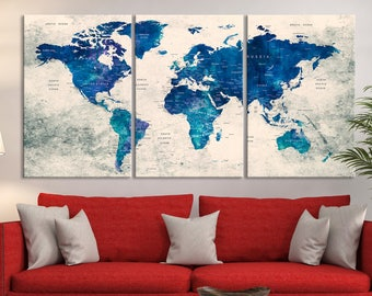 Push Pin World Map Print Art, World Map Travel, Large World Map Print, World Map Wall Art, Watercolor World Map Art, World Map Push Pin Art