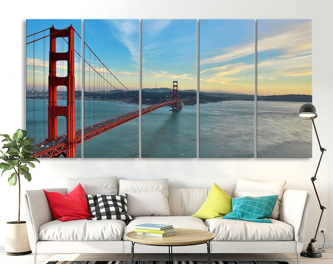 City canvas prints world map canvas prints san francisco golden gate bridge skyline wall art canvas print san francisco downtown wall art gumiabroncs Image collections