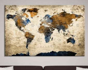 World map canvas etsy xlarge world map canvas print for home interior large wall art world map canvas art large wall art world map push pin canvas print gumiabroncs Images