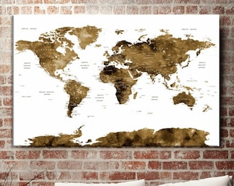 World Map Push Pin, World Map Wall Art, World Map Push Pin Sepia Wall Art Canvas Print, World Map Push Pin Travel Wall Art Canvas Print