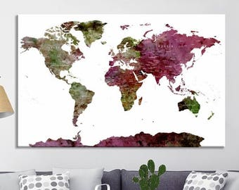 World Map Wall Art, World Map Canvas, World Map Print,  World Map Poster, World Map Art, World Map Push Pin, Push Pin World Map,