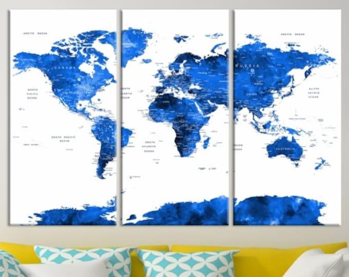 World map canvas prints world map push pin world map wall art world map push pin navy blue gumiabroncs Images