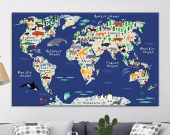 World map canvas etsy publicscrutiny Image collections