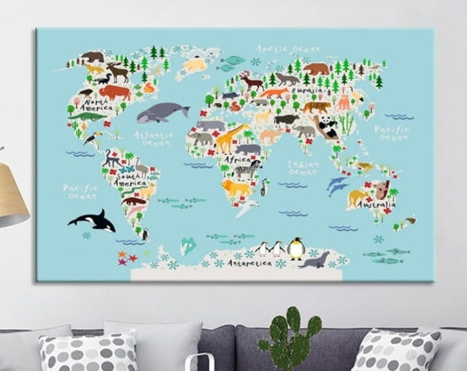 Animal map for kids room world map canvas prints animal world map for children and kids room decoration world map for nursery room gumiabroncs Choice Image