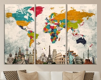 World map canvas etsy best selling items favorite favorited add to added world map canvas gumiabroncs Gallery