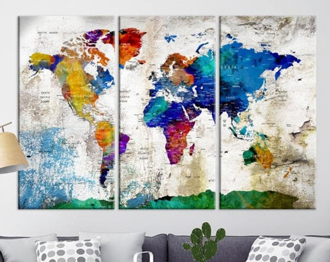 World map canvas prints world map push pin wall art canvas print world map print art large wall gumiabroncs Images