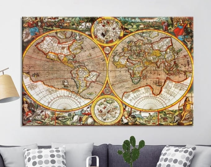Antique world map world map canvas prints large wall art world map canvas print old map canvas print gumiabroncs Image collections