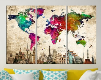 World Map Canvas, World Map Wall Art, Wonder of World Map Push Pin Canvas Print, Large Wall Art World Map Push Pin Canvas, Framed Wall Art