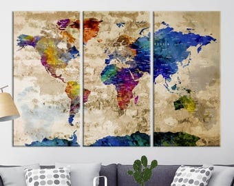 Push Pin Travel Map of World, Vintage Map, Push Pin Map, Push Pin World Map, World Map Canvas Wall art, Large Wall Art