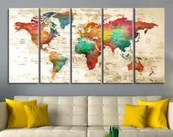 Large Wall Art World Map Canvas Print,  Watercolor World Map Travel Canvas Print, World Map Push Pin, Push Pin Travel World Map Canvas Print