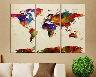 Large Wall Art World Map Push Pin Watercolor Canvas Print - XXL World Map Push Pin Canvas Print, Push Pin World Travel Map Canvas Print
