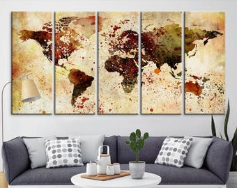 World Map Push Pin, World Map Wall Art, World Map Push Pin Grunge Wall Art Canvas Print, World Map Push Pin Travel Wall Art Canvas Print