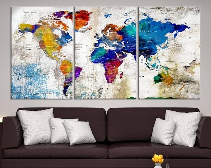 wall art world map canvas push pin world map print art world map travel