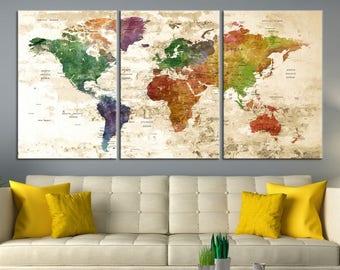 world map canvas push pin Large Wall Art - World Map Push Pin Wall Art Canvas Print - World Map Wall Art Print, Triptych Wall Art