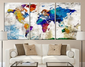 Map wall art etsy world map wall art world map canvas world map print world map canvas world map art world map push pin large wall art world map canvas gumiabroncs Image collections