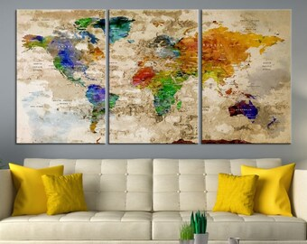 World Map Wall Art, World Map Canvas, World Map Print,  World Map Poster, World Map Art, World Map Push Pin
